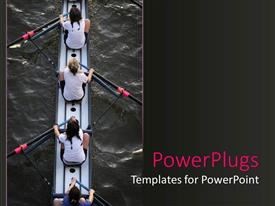 PPT theme consisting of four women in a canoe with paddles on water women's rowing team