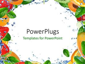 PPT theme enhanced with frame with fresh healthy fruit and splashing water