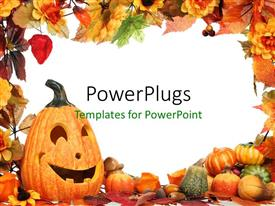PPT theme consisting of frame with Halloween decoration using pumpkins and colorful leaves