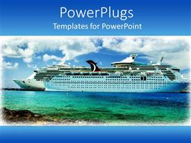 5000 shipping powerpoint templates w shipping themed backgrounds theme having framed cruise ship on sea water with white clouds on blue sky template size toneelgroepblik Choice Image