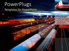 Audience pleasing PPT theme featuring freight Station with the trains with the night lamps