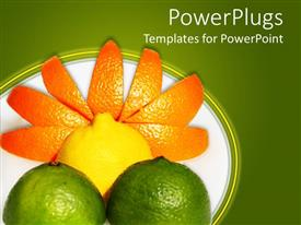 Presentation theme featuring fresh fruits, orange, lemon, lime, forming sun with rays over green field