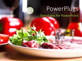 PPT layouts consisting of fresh and healthy food in plate over restaurant table