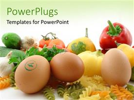 PPT theme with fresh and healthy food and vegetables over green background