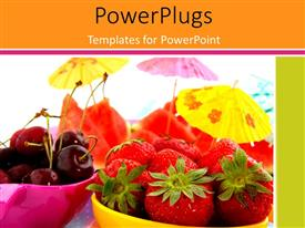 PPT theme enhanced with fresh healthy fruits in pink and yellow bowl with parasols