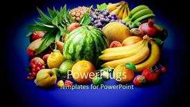 Presentation theme consisting of a lot of fruits with a bluish background