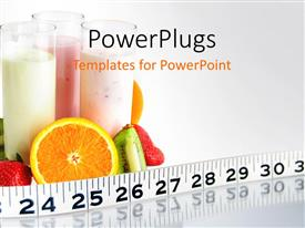 Amazing PPT theme consisting of fruit smoothies circled by fruit health ruler
