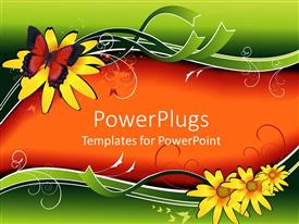 PPT layouts consisting of funky Colored theme with a butterfly sitting on yellow flower
