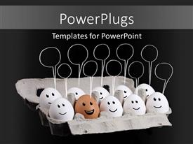 Beautiful PPT layouts with funny faces on a group of white eggs with one brown egg and message bubbles