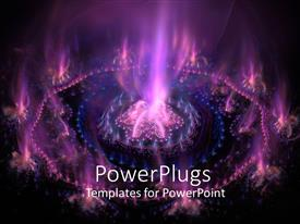 Presentation theme having futuristic purple with purple and blue flames in dark background