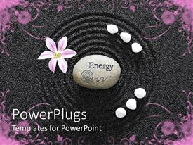 Colorful PPT layouts having a garden with an energy stone in the middle of a circle create don black sand