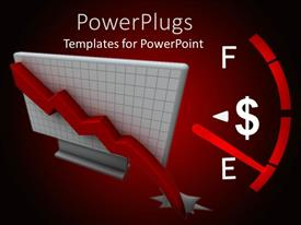PPT theme having a gauge with a dollar sign approaching empty on a red background