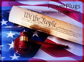 Elegant theme enhanced with a gavel and the constitution of America