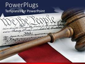 Colorful PPT theme having a gavel on a desk along with the American constitution