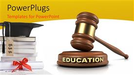Presentation theme consisting of graduation cap on pile of books with hammer and gavel in white background