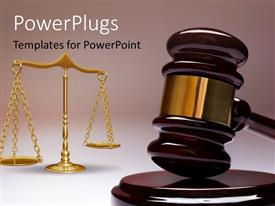 Elegant PPT theme enhanced with gavel and wight balance depicting law concept