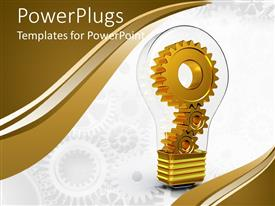 Amazing theme consisting of gears inside light bulb with white background and colorful edges