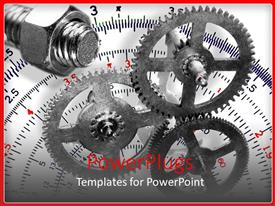 Audience pleasing PPT theme featuring gears with nut and bolt with a protractor in the background, design and engineering