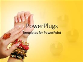 PPT layouts with gems in background with ring on woman's hand and colored bracelets