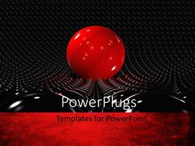 Elegant PPT theme enhanced with a giant red ball with a number of black balls in the background