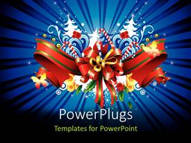 Amazing PPT theme consisting of a gift hamper material with bluish background