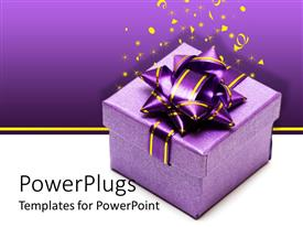 Presentation theme with a gift hamper with a purple background including celebration material