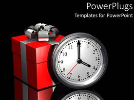 Colorful presentation having gift of time metaphor with red and silver present and clock