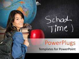 Colorful presentation design having a girl with a blackboard in the background and a globe