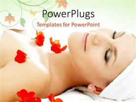 Amazing slides consisting of a girl during a spa with a number of flowers and floral background