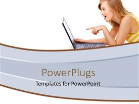 Elegant PPT theme enhanced with a girl happy while looking at a laptop screen