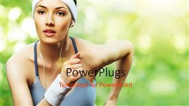 Beautiful PPT theme with a girl jogging while listening to music