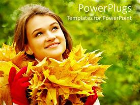 Presentation with a girl with a number of leaves and greenish background