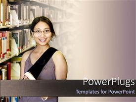 PPT layouts featuring a girl smiling in a library