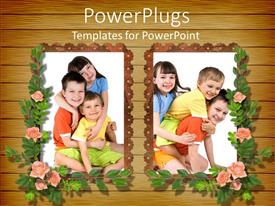 Amazing theme consisting of girl and two boy children posing in frames with flowers, kids, family