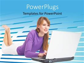 Presentation theme featuring a girl working on the laptop and bluish background