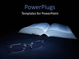 Colorful PPT layouts having glasses laying on the foreground with a book