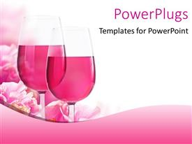 Beautiful presentation design with glasses of wine with beautiful pink flowers