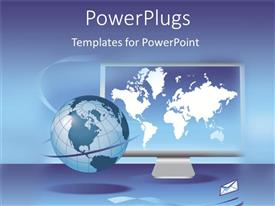 PPT theme having global communication on a computer screen with email on blue background