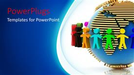 PPT theme with colorful 3D men hold hands around earth globe in white background
