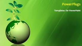 Amazing PPT theme consisting of global environment with a globe and a green plant - widescreen format