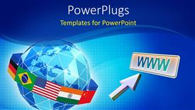Amazing PPT theme consisting of global network depiction with flag of countries around globe and mouse pointer