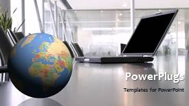 Elegant presentation enhanced with a globe with a laptop and office in background - widescreen format