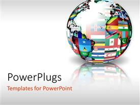 Beautiful slide set with globe with map and different country flags