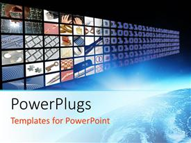 Presentation theme enhanced with glow on planet earth and media visual panel screen