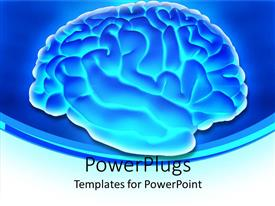 Colorful PPT layouts having glowing 3D depiction of human brain with silver margins on blue background