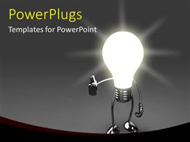 Presentation having a glowing bulb with grayish background
