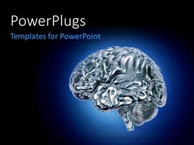 Colorful presentation design having glowing chrome brain on dark blue background