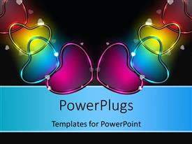 Audience pleasing presentation design featuring glowing colorful heart shaped symbols over black background