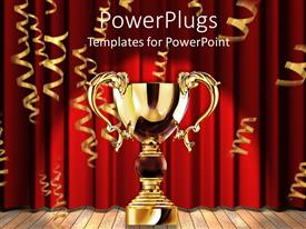 Elegant PPT theme enhanced with a glowing golden trophy with red background showing victory