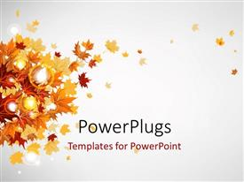 Audience pleasing slide deck featuring glowing grey background with autumn leaves on left side